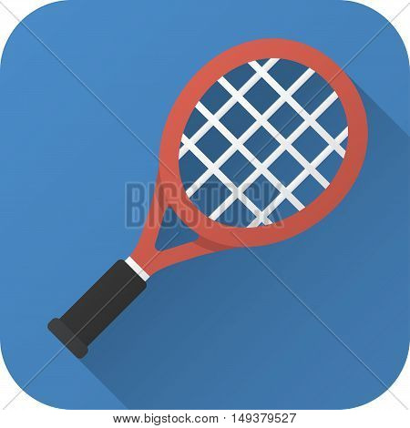 Vector illustration. Toy tennis racket in flat design with long shadow. Square shape icon in simple design. Icon vector size 1024 corner radius 180