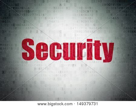 Security concept: Painted red word Security on Digital Data Paper background