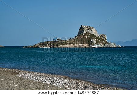 Orthodox chapel on the rock at the Greek island of Kos