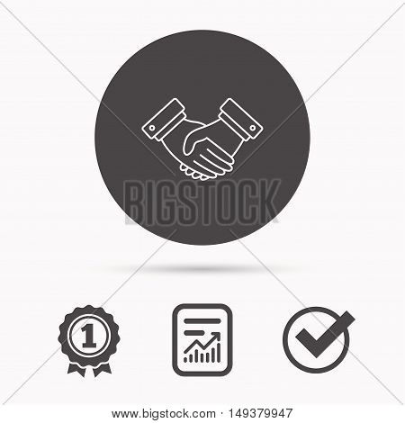 Handshake icon. Deal agreement sign. Business partnership symbol. Report document, winner award and tick. Round circle button with icon. Vector