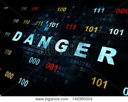 Protection concept: Pixelated blue text Danger on Digital wall background with Binary Code
