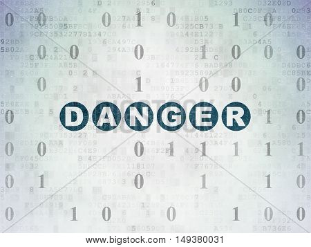 Security concept: Painted blue text Danger on Digital Data Paper background with Binary Code