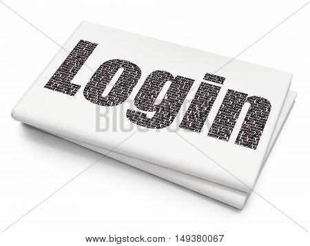 Safety concept: Pixelated black text Login on Blank Newspaper background, 3D rendering