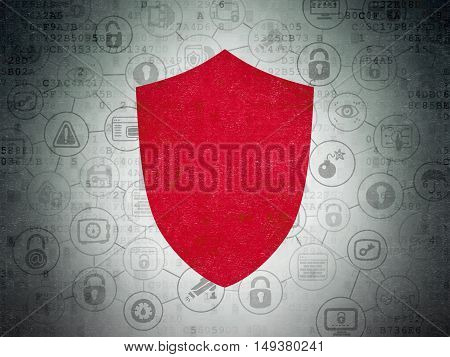 Protection concept: Painted red Shield icon on Digital Data Paper background with Scheme Of Hand Drawn Security Icons