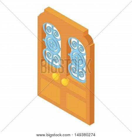 Door with lattice pattern icon in cartoon style isolated on white background. Interior symbol vector illustration
