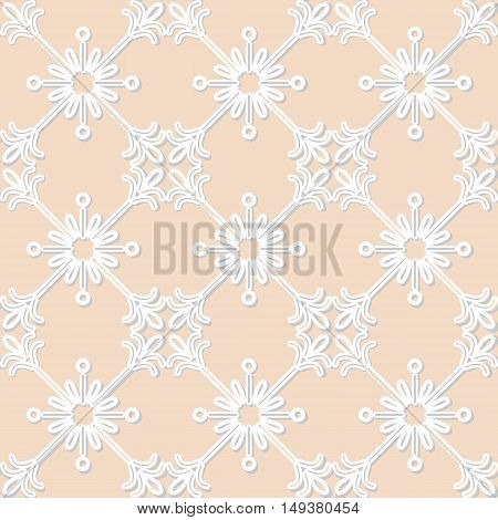 White paper pattern laser cut lace texture swirly tulle background vector seamless ornament in neutral color.