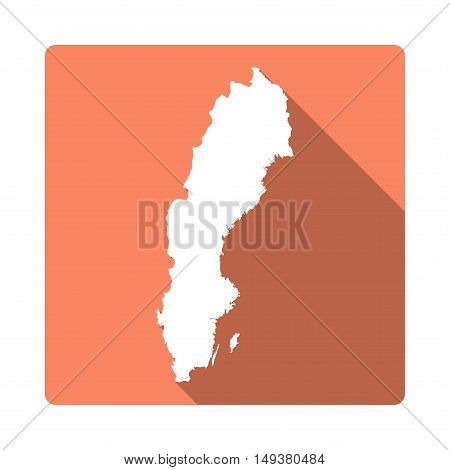 Vector Sweden Map Button. Long Shadow Style Sweden Map Square Icon Isolated On White Background. Fla