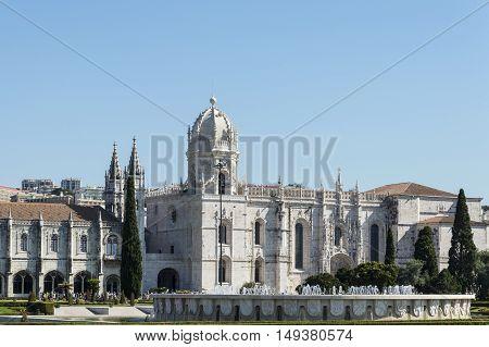 Lisbon Portugal - 17th July 2016: The Jeronimos Monastery or Hieronymites Monastery