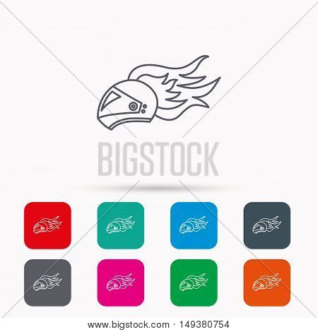 Helmet on fire icon. Motorcycle sport sign. Linear icons in squares on white background. Flat web symbols. Vector