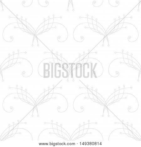 Elegant pastel gray thin line damask seamless pattern on white. Thin line decoration. Damask pattern. Seamless abstract background. Infinity geometric pattern. Vector illustration.