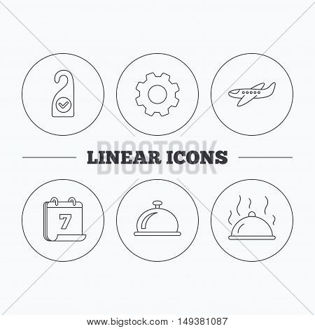 Hot food, reception bell and clean room icons. Airplane linear sign. Flat cogwheel and calendar symbols. Linear icons in circle buttons. Vector