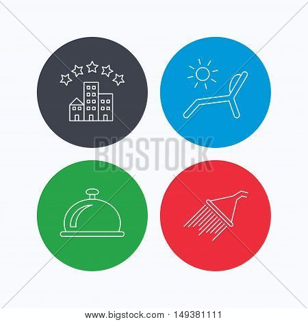 Hotel, shower and beach deck chair icons. Reception bell linear sign. Linear icons on colored buttons. Flat web symbols. Vector