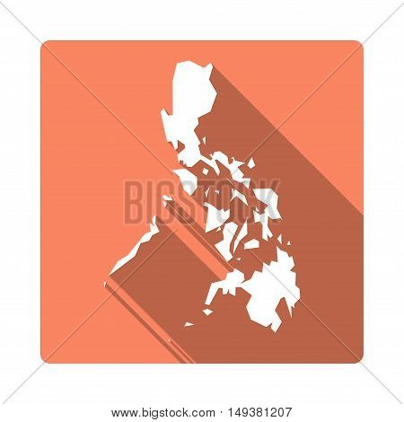 Vector Philippines Map Button. Long Shadow Style Philippines Map Square Icon Isolated On White Backg