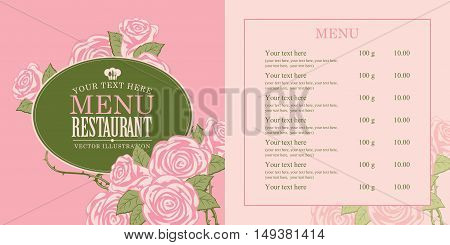 menu for the restaurant with roses in retro style