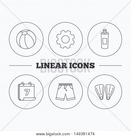 Flippers, swimming ball and trunks icons. Shampoo bottle linear sign. Flat cogwheel and calendar symbols. Linear icons in circle buttons. Vector