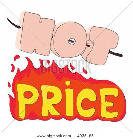 Hot price icon in cartoon style isolated on white background. Purchase symbol vector illustration