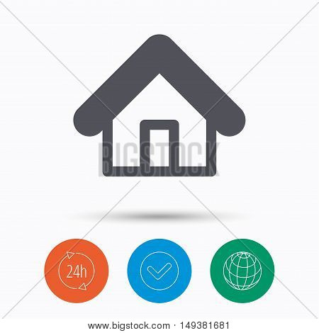 Home icon. House building symbol. Real estate construction. Check tick, 24 hours service and internet globe. Linear icons on white background. Vector