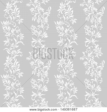 Seamless Pattern With White Flowers On A Gray Background
