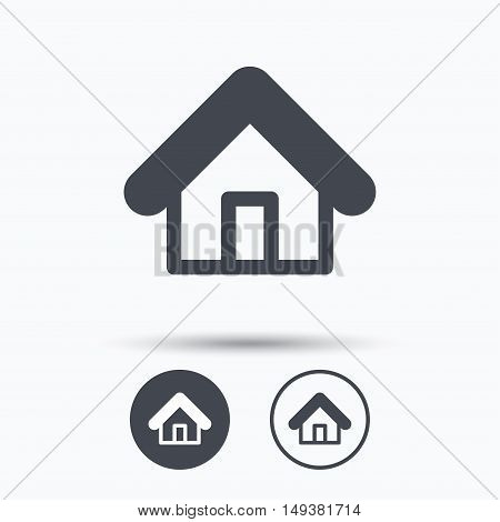 Home icon. House building symbol. Real estate construction. Circle buttons with flat web icon on white background. Vector
