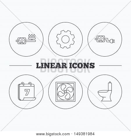 Ventilation, toilet and gas counter icons. Electricity counter linear sign. Flat cogwheel and calendar symbols. Linear icons in circle buttons. Vector
