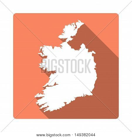 Vector Ireland Map Button. Long Shadow Style Ireland Map Square Icon Isolated On White Background. F
