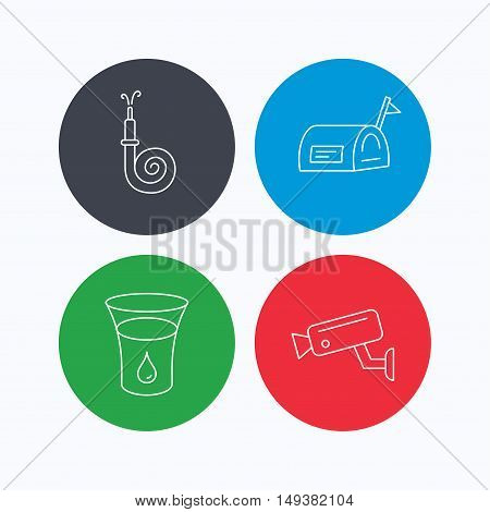 Mailbox, video monitoring and fire hose icons. Glass of water linear sign. Linear icons on colored buttons. Flat web symbols. Vector