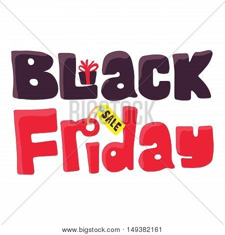Black Friday icon in cartoon style isolated on white background. Purchase symbol vector illustration