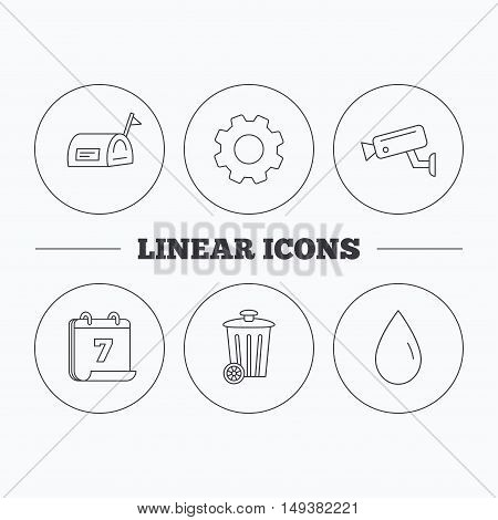 Mailbox, video monitoring and water drop icons. Trash bin linear sign. Flat cogwheel and calendar symbols. Linear icons in circle buttons. Vector