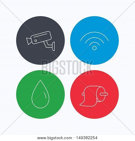 Wi-fi, video monitoring and water drop icons. Toilet paper linear sign. Linear icons on colored buttons. Flat web symbols. Vector