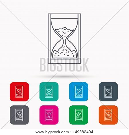 Hourglass icon. Sand time sign. Linear icons in squares on white background. Flat web symbols. Vector