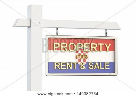 Property for sale and rent in Croatia concept. Real Estate Sign 3D rendering isolated on white background