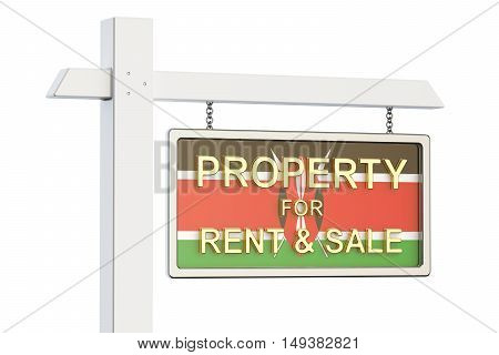 Property for sale and rent in Kenya concept. Real Estate Sign 3D rendering isolated on white background
