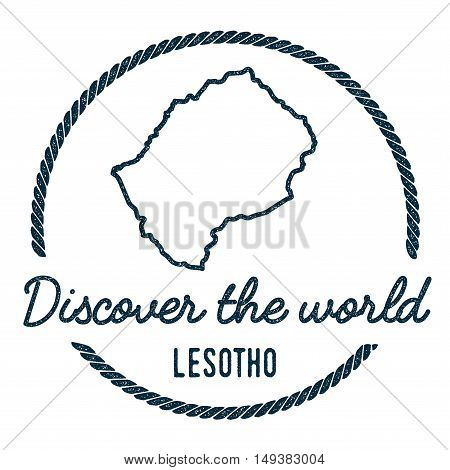 Lesotho Map Outline. Vintage Discover The World Rubber Stamp With Lesotho Map. Hipster Style Nautica
