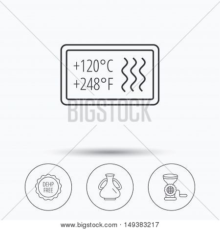 Meat grinder, vase and heat-resistant icons. DEHP free linear sign. Linear icons in circle buttons. Flat web symbols. Vector