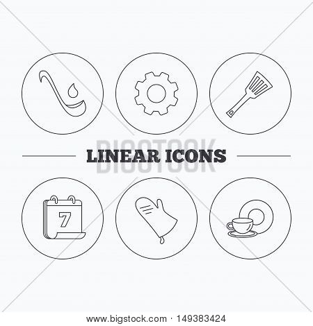 Soup ladle, potholder and kitchen utensils icons. Food and drink linear signs. Flat cogwheel and calendar symbols. Linear icons in circle buttons. Vector