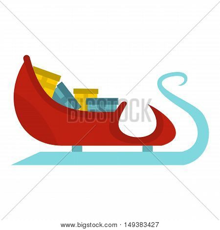 Santa Claus sleigh with gifts icon in flat style isolated on white background. New year symbol vector illustration