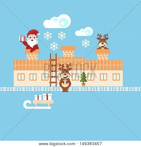 santa claus and reindeer delivering christmas presents