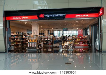 Bratislava, Slovakia - September 19. 2016: People visit duty free shop in the airport at evening