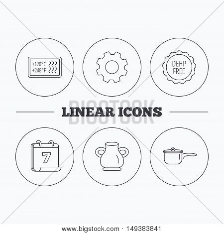 Saucepan, vase and heat-resistant icons. DEHP free linear sign. Flat cogwheel and calendar symbols. Linear icons in circle buttons. Vector