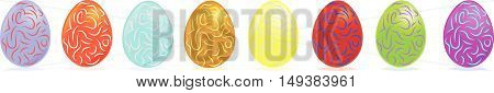 easter eggs row. isolated vector illustration over white background. vector illustration.