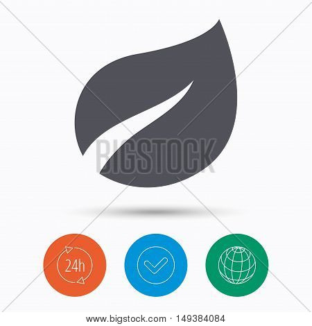 Leaf icon. Fresh organic product symbol. Check tick, 24 hours service and internet globe. Linear icons on white background. Vector