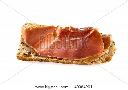 Fresh homemade Alpine Baguette with jamon isolated over white. Healthy food concept.