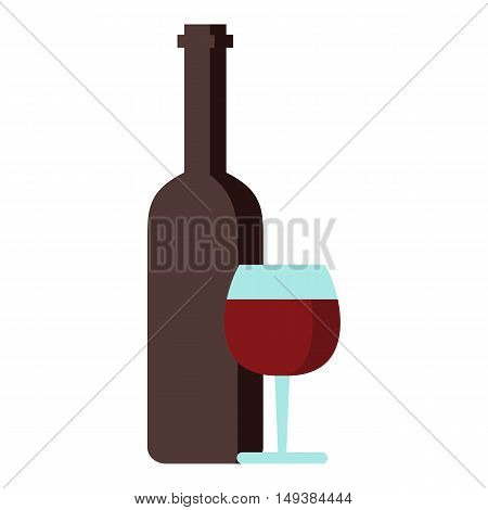 Red wine and glass icon in flat style isolated on white background. Drink symbol vector illustration