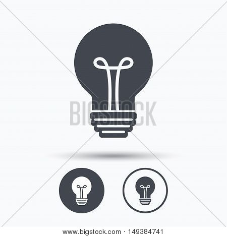 Light bulb icon. Lamp sign. Illumination technology symbol. Circle buttons with flat web icon on white background. Vector