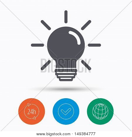 Light bulb icon. Lamp sign. Illumination technology symbol. Check tick, 24 hours service and internet globe. Linear icons on white background. Vector
