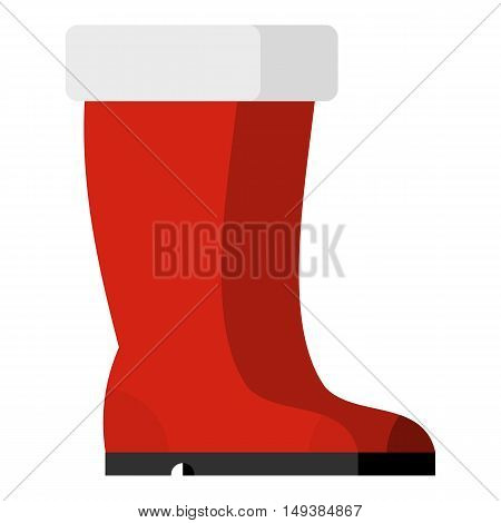 Red rubber boots icon in flat style isolated on white background. Wear symbol vector illustration