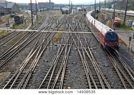 Railroad tracks with switches