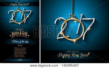 2017 Happy New Year Restaurant Menu Template Background For