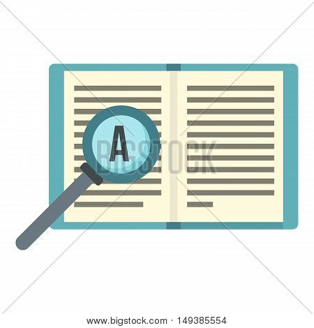 Magnifier and book icon in flat style isolated on white background. Reading symbol vector illustration