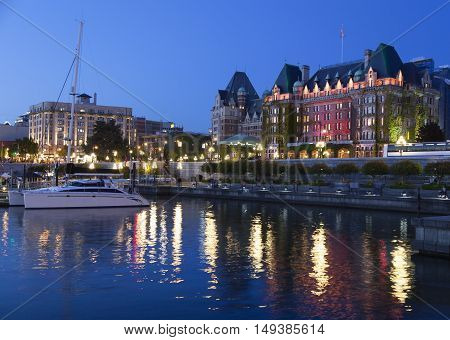Victoria city lights at night (British Columbia Canada).